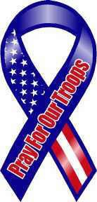 Red, White, and Blue Pray For Our Troops Ribbon Magnet