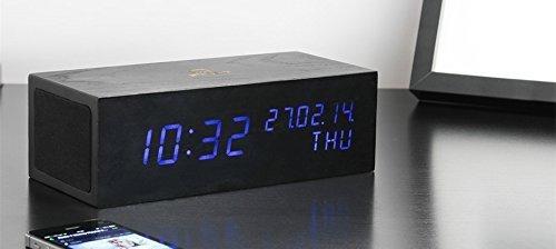Gingko Music Click Clock ~ Black Finish / Blue LED ~ Technology Made Natural by Gingko