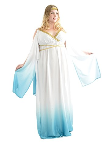 Charades Women's Plus Size Greek Goddess, White/Blue, -