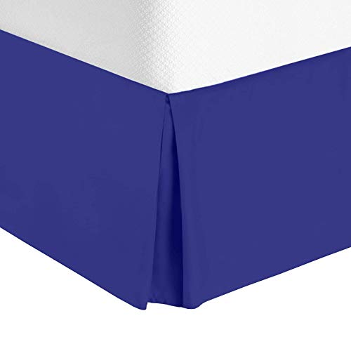"Nestl Bedding Pleated Bed Skirt - Luxury Microfiber Dust Ruffle, 14"" Tailored Drop, Queen, Royal Blue"
