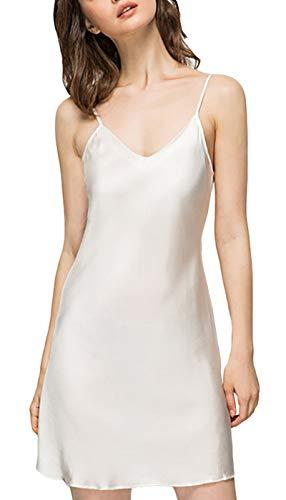 Acramy Dames nachthemd satijn sleepwear mouwloos V-hals grote maten negligé