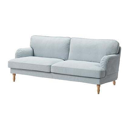 IKEA sofá, remvallen azul/blanco, luz marrón/madera ...