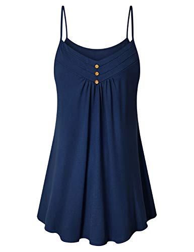 Top Neckline Sleeveless (Viracy Camisoles for Women, Girls Sleeveless Tunic Tops Leggings Spaghetti Strap V Neckline Slim Fit Flared Tanks Petite Stretchy Pleats Wide Hem Casual Summer Holiday Shirt Blue M)