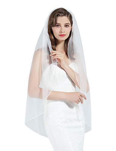 (1 Tier Wedding Bridal Veil Pencil Edge White Cathedral Length)