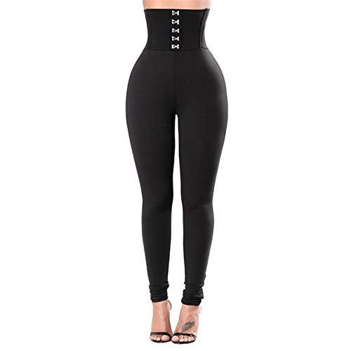 Thenxin Womens High Waist Yoga Pants Tummy Control Compression Slimming Leggings Workout Trouser(Black,S)