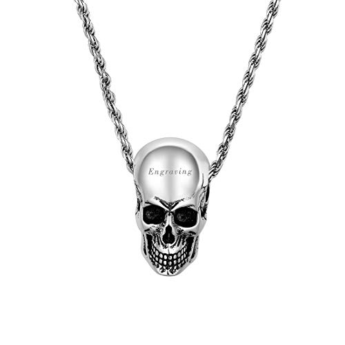 U7 Customized Engravable Skeleton Pendant 925 Sterling Silver 1.6mm Rope Chain 20