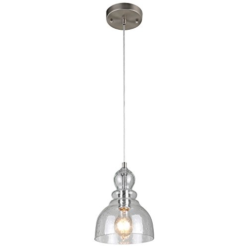 Westinghouse 6100700 Industrial One-Light Adjustable Mini Pendant with Handblown Clear Seeded Glass, Brushed Nickel Finish