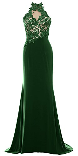 MACloth Women Mermaid Halter Lace Long Formal Evening Dress Wedding Party Gown Verde Oscuro