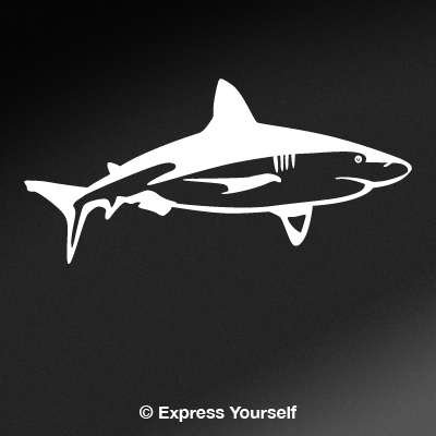 (Bull Shark Cruising (White - Image Facing as Shown - Large) Decal Sticker - Saltwater Fish Collection)