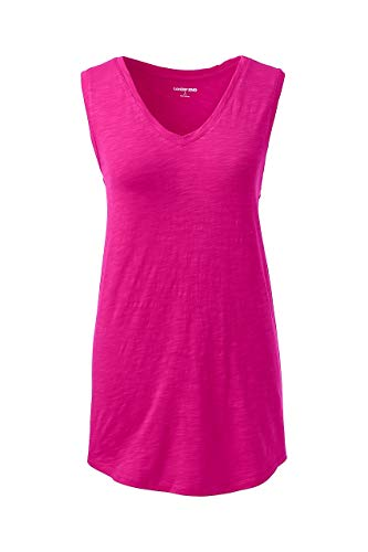 Lands' End Women's Plus Size Slub Jersey V-Neck Tank Top, 2X, Wild Magenta