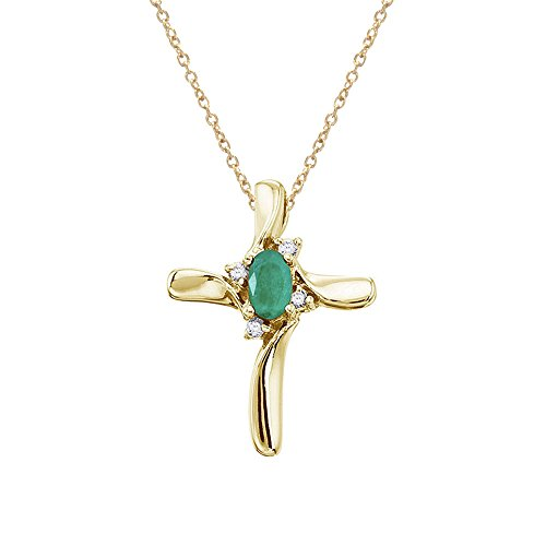0.25 Carat (ctw) 14k Yellow Gold Oval Green Emerald and Diamond Women's Cross Pendant with 18