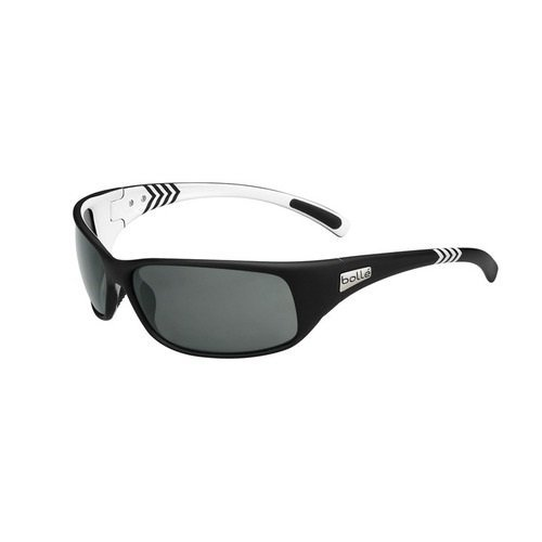 Bolle Recoil Sunglasses, Matte Black/White Arrow Frame, True Neutral Smoke - Triathlon Sunglasses