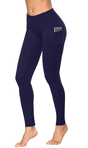 (Fengbay High Waist Yoga Pants, Pocket Yoga Pants Tummy Control Workout Running 4 Way Stretch Yoga Leggings Navy Blue)