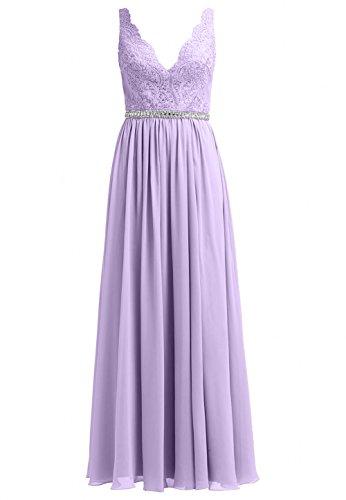 Charmant Flieder Partykleider Lang Glamour linie Abendkleider ausschnitt A Neuheit Aermellos V Damen Ballkleider rrqZUO