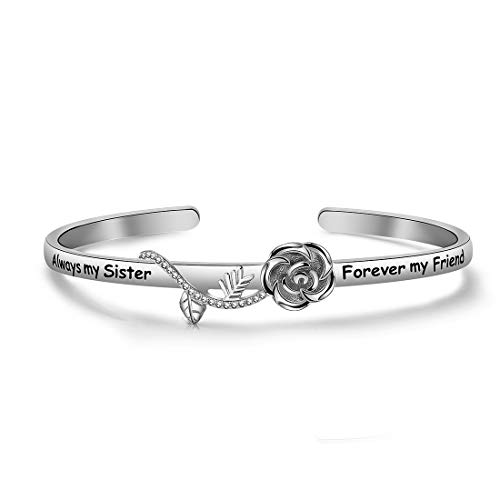 HOLLP Best Friend Bracelet Sister Gift Always My Sister Forever My Friend Cuff Bracelet with Rose Flower Gift for Sisters Friendship Jewelry (Silver)