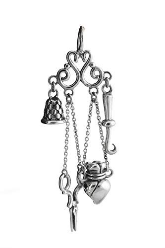 Sterling Chatelaine Silver (Chatelaine Charm - 925 Sterling Silver - Sewing Victorian Thimble Pendant - Jewelry Accessories Key Chain Bracelets Crafting Bracelet Necklace Pendants)