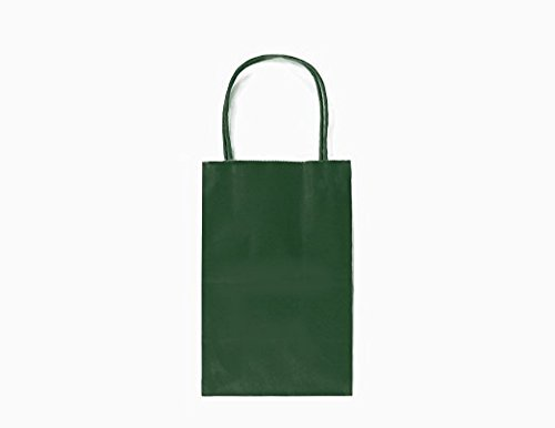 GIFT EXPRESSIONS 24CT SMALL EVERGREEN BIODEGRADABLE, FOOD SAFE INK & PAPER, PREMIUM QUALITY PAPER (STURDY & THICKER), KRAFT BAG WITH COLORED STURDY HANDLEs (Small, Evergreen)