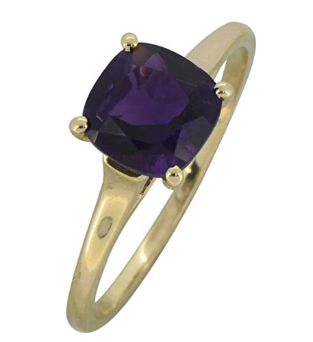 - YoTreasure 1.60Ct. Purple African Amethyst Solid 10K Yellow Gold Solitaire Ring