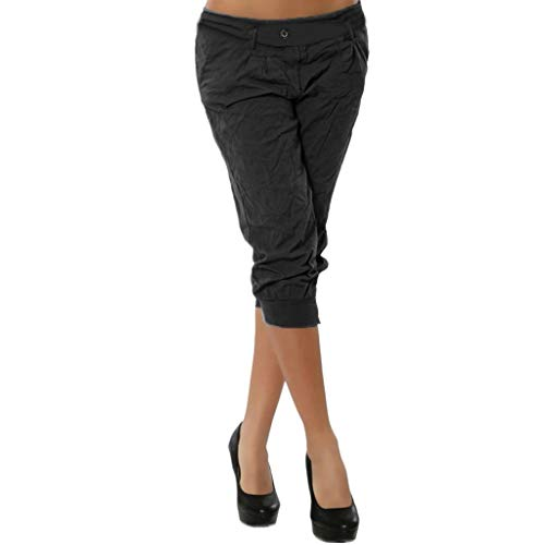 (Women Summer Elastic Waist Boho Check Pants Baggy Wide Leg Plus Size Yoga Capris Black)
