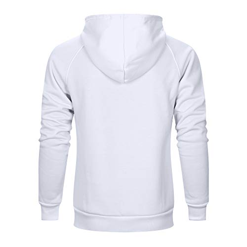 7034150277f56 TOLOER Men s Hoodies Pullover Slim Fit Solid Color Sports Outwear  Sweatshirts White Medium
