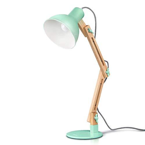 Green Dark Lamp Table (Tomons Swing Arm LED Desk Lamp, Wood Designer Table Lamp, Reading Lights for Living Room, Bedroom, Study, Office, Bedside Nightstand Lamp with 4W LED Bulb - Green)