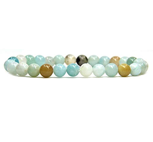 Natural Multicolor Amazonite Gemstone 6mm Round Beads Stretch Bracelet 7