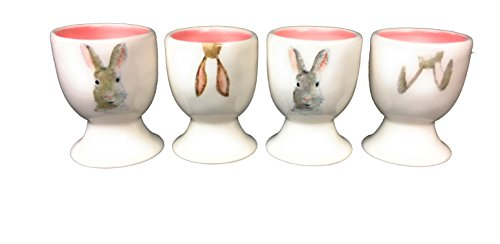 Rae Dunn Pottery Easter Holiday Collection Bunny Rabbit Ceramic Egg Cup Holders