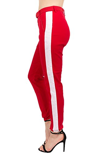 TwiinSisters Women's High Rise Slim Fit Color Jogger Pants with Matching Belt - Size Small to 3X (Medium, Red/White #Rjj2049)