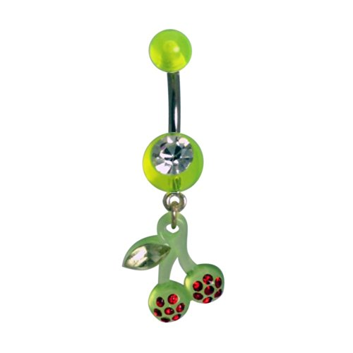14 Gauge Dangling Cherry Sexy Belly Button Navel Ring Body Piercing Dangle with Red and Green Gems and Surgical Steel Bar 14 Gauge 7/16
