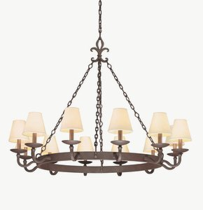 Metal Troy Chandelier (Troy Lighting Lyon 12-Light Chandelier - Burnt Sienna Finish with Hardback Linen Shade)