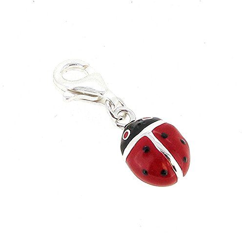 (Queenberry Sterling Silver Ladybug Enamel European Style Clasp Charm)