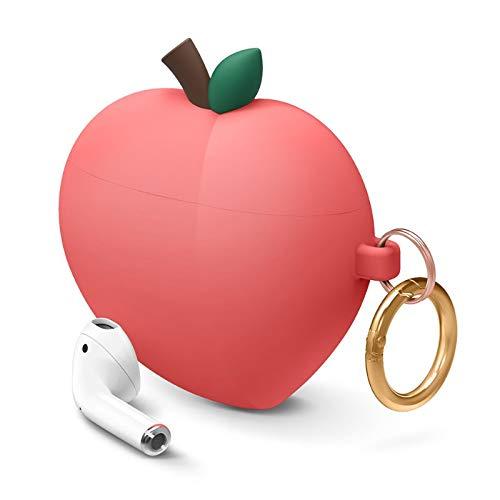 ویکالا · خرید  اصل اورجینال · خرید از آمازون · elago Peach AirPods Case Cover Compatible with Apple AirPods Case, 3D Cute Design Case Cover with Keychain for Apple AirPods Case (Red) wekala · ویکالا
