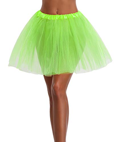 Women's, Teen, Adult Classic Elastic 3, 4, 5 Layered Tulle Tutu Skirt (One Size, Green 3Layer)