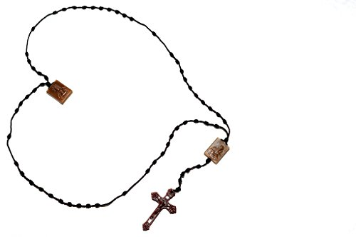 Mount Carmel Medallion (Scapular Rosary with Our Lady of Mount Carmel and Sacred Heart Jesus, Scapular Catholic, Rosary Necklace, Brown with knots …)