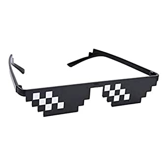 With It Glasses 8 bits Mosaic Pixel Sunglasses Men Women Party Eyewear Dealwithit thug life Popular Around the World