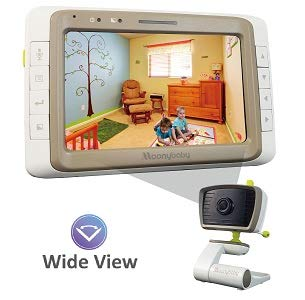 (Baby Monitor Camera, Wide View, Split Screen, 5 Inches Large Screen by Moonybaby, Night Vision, Digital Camera, Room Temperature, Long Range, 2 Way Talk Back, Lullabies and High Capacity Battery)
