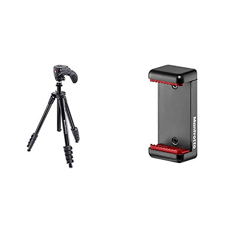 Manfrotto 삼각대 COMPACT Action MKCOMPACTACN + 스마트폰 어댑터 MCLAMP