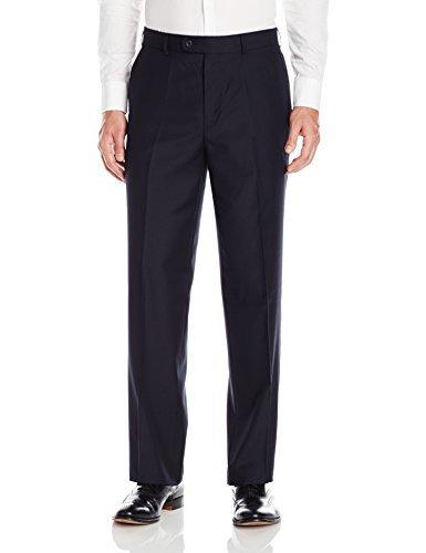 Linea Naturale Men's Flat Front Travel Genius Microfiber Trouser, Midnight, 30W