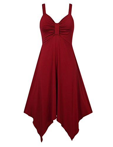 Empire Waist Silk Tunic - Leadingstar Women Summer Spaghetti Strap Ruched Asymmetrical Pure Color Casual Top Tunic Dress Sundress -Burgundy L