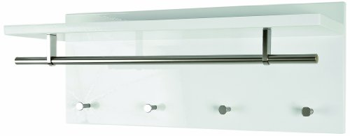 HAKU Möbel 42317 Wandgarderobe 75 x 26 x 30 cm, weiß / edelstahloptik