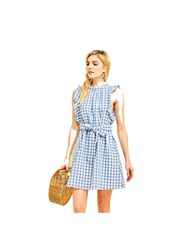 - THFB Women's Cotton Gingham Print High Neck Dress with Ruffle Detail (Medium) Blue