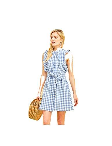- THFB Women's Cotton Gingham Print High Neck Dress with Ruffle Detail (Medium) Blue