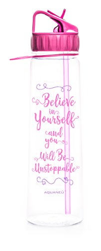 30oz Inspirational Fitness Workout Sports Water Bottle with Time Marker | Measurements | Goal Marked Times For Measuring Your H2O Intake, BPA Free Non-toxic Tritan (believe fuschia)