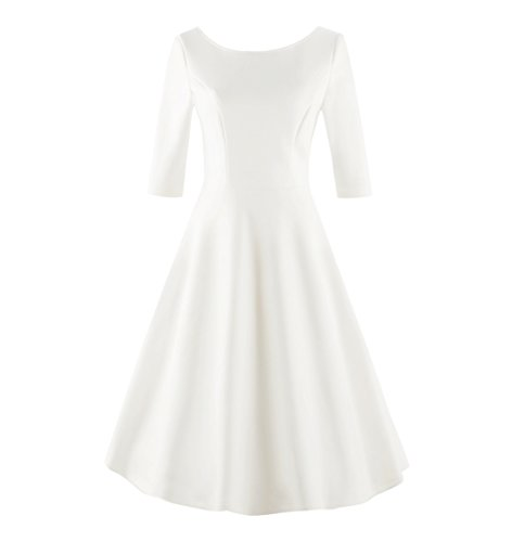 Tecrio Women Retro 50s 60s Classy Solid 1/2 Sleeve Wedding Evening Party Dress XXL White