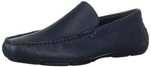 Calvin Klein Men's Kaleb Tumbled Leather Driving Style Loafer, Dark Navy, 11.5M M US (Navy Leather Tumbled)