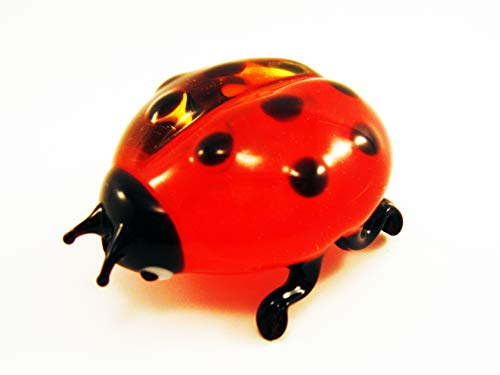 Figurine Bug - Glass Ladybug Figurines Blown Dollhouse Ladybug Birds Small Sculptures Collector Animal Ornaments Decor Red Desk Gifts Figurine