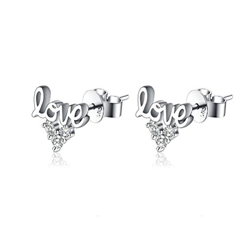 Heart Earrings 14K White Gold Studs