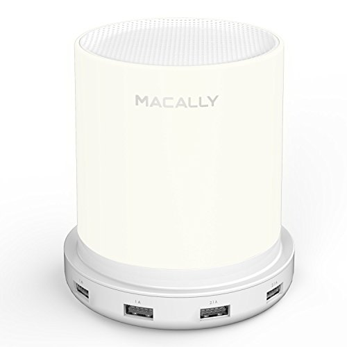 Macally LED Desk, Nightstand & Bedside Lamp with USB Port (4 High Powered Ports) | 3 Level Brightness Touch Sensor Control | Charging Lamp with Dimmable Warm White Light (LAMPCHARGE)