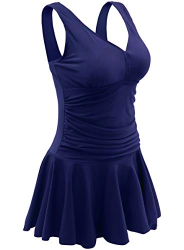 AONTUS Tankini Tops for Women Swimsuits One Piece Boyleg Tummy Control Swim Dress Navy Blue