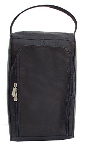(Piel Leather Golf U-Zip Shoe Bag in Black )